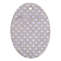 Scales2 White Marble & Sand (r) Ornament (oval) by trendistuff