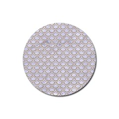 Scales2 White Marble & Sand (r) Rubber Coaster (round)  by trendistuff