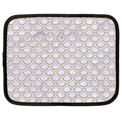 Scales2 White Marble & Sand (r) Netbook Case (large) by trendistuff