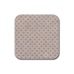 Scales2 White Marble & Sand Rubber Square Coaster (4 Pack)  by trendistuff