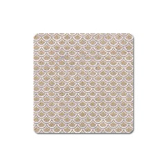Scales2 White Marble & Sand Square Magnet by trendistuff