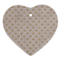 Scales2 White Marble & Sand Heart Ornament (two Sides) by trendistuff