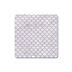 Scales1 White Marble & Sand (r) Square Magnet by trendistuff