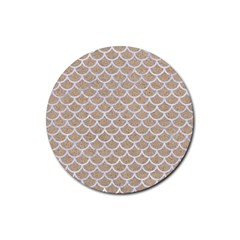 Scales1 White Marble & Sand Rubber Round Coaster (4 Pack)  by trendistuff