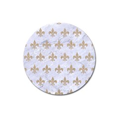 Royal1 White Marble & Sand Magnet 3  (round) by trendistuff