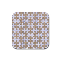 Puzzle1 White Marble & Sand Rubber Coaster (square)  by trendistuff