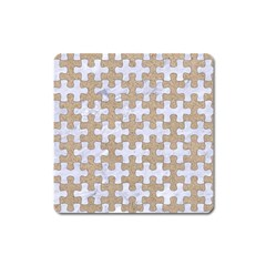 Puzzle1 White Marble & Sand Square Magnet by trendistuff
