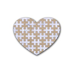 Puzzle1 White Marble & Sand Heart Coaster (4 Pack)  by trendistuff
