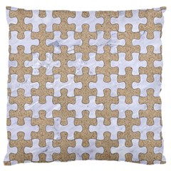 Puzzle1 White Marble & Sand Large Cushion Case (two Sides) by trendistuff