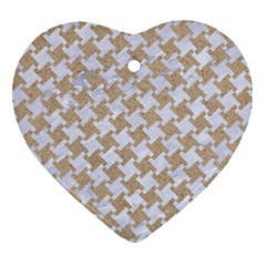 Houndstooth2 White Marble & Sand Ornament (heart) by trendistuff