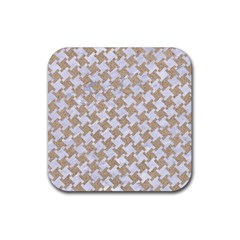 Houndstooth2 White Marble & Sand Rubber Square Coaster (4 Pack)  by trendistuff