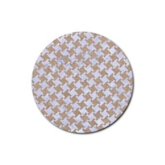 Houndstooth2 White Marble & Sand Rubber Round Coaster (4 Pack)  by trendistuff