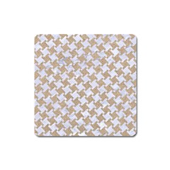 Houndstooth2 White Marble & Sand Square Magnet by trendistuff