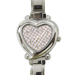 Houndstooth2 White Marble & Sand Heart Italian Charm Watch by trendistuff