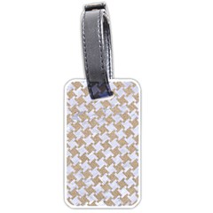 Houndstooth2 White Marble & Sand Luggage Tags (two Sides) by trendistuff