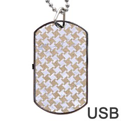 Houndstooth2 White Marble & Sand Dog Tag Usb Flash (two Sides) by trendistuff