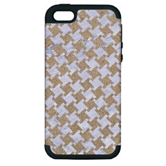 Houndstooth2 White Marble & Sand Apple Iphone 5 Hardshell Case (pc+silicone) by trendistuff
