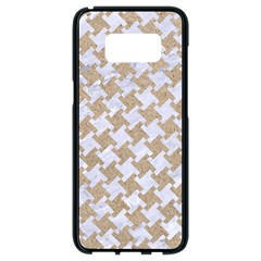 Houndstooth2 White Marble & Sand Samsung Galaxy S8 Black Seamless Case by trendistuff
