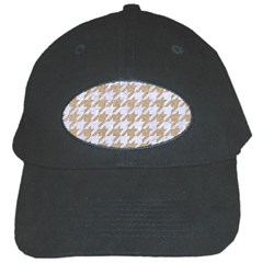 Houndstooth1 White Marble & Sand Black Cap by trendistuff