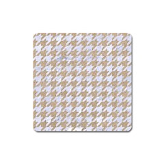 Houndstooth1 White Marble & Sand Square Magnet by trendistuff