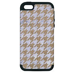 Houndstooth1 White Marble & Sand Apple Iphone 5 Hardshell Case (pc+silicone) by trendistuff