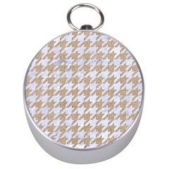Houndstooth1 White Marble & Sand Silver Compasses by trendistuff