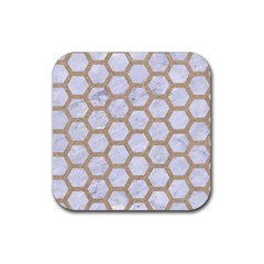 Hexagon2 White Marble & Sand (r) Rubber Square Coaster (4 Pack)  by trendistuff
