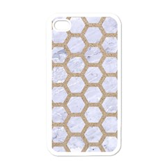 Hexagon2 White Marble & Sand (r) Apple Iphone 4 Case (white) by trendistuff