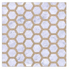 Hexagon2 White Marble & Sand (r) Large Satin Scarf (square) by trendistuff
