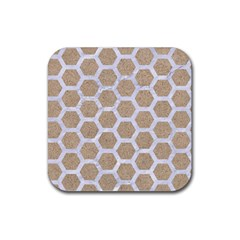 Hexagon2 White Marble & Sand Rubber Square Coaster (4 Pack)