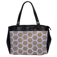 Hexagon2 White Marble & Sand Office Handbags by trendistuff