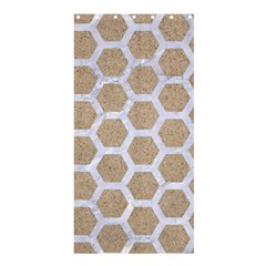 Hexagon2 White Marble & Sand Shower Curtain 36  X 72  (stall)  by trendistuff