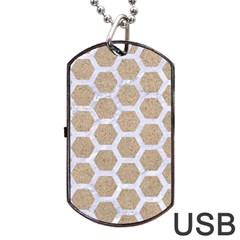 Hexagon2 White Marble & Sand Dog Tag Usb Flash (two Sides) by trendistuff