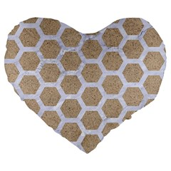 Hexagon2 White Marble & Sand Large 19  Premium Heart Shape Cushions by trendistuff