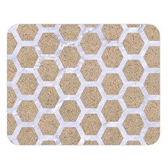 Hexagon2 White Marble & Sand Double Sided Flano Blanket (large)  by trendistuff