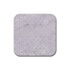 Hexagon1 White Marble & Sand (r) Rubber Square Coaster (4 Pack)  by trendistuff