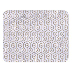 Hexagon1 White Marble & Sand (r) Double Sided Flano Blanket (large)  by trendistuff