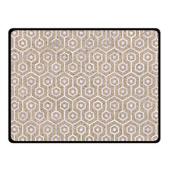 Hexagon1 White Marble & Sand Fleece Blanket (small) by trendistuff