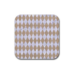 Diamond1 White Marble & Sand Rubber Square Coaster (4 Pack)  by trendistuff