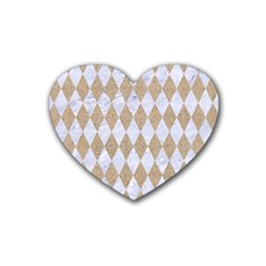 Diamond1 White Marble & Sand Rubber Coaster (heart)  by trendistuff