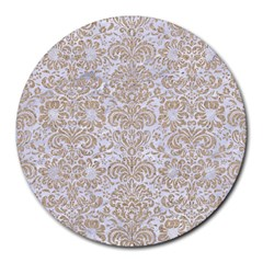 Damask2 White Marble & Sand (r) Round Mousepads