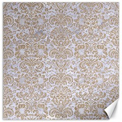 Damask2 White Marble & Sand (r) Canvas 12  X 12   by trendistuff