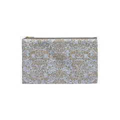 Damask2 White Marble & Sand (r) Cosmetic Bag (small)  by trendistuff