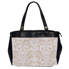 Damask2 White Marble & Sand Office Handbags (2 Sides)  by trendistuff