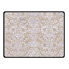 Damask2 White Marble & Sand Double Sided Fleece Blanket (small)  by trendistuff