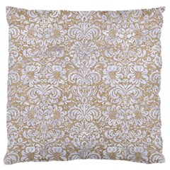 Damask2 White Marble & Sand Large Flano Cushion Case (one Side) by trendistuff