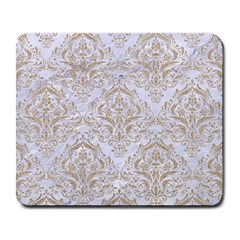 Damask1 White Marble & Sand (r) Large Mousepads by trendistuff