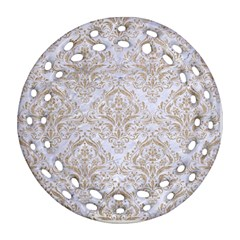Damask1 White Marble & Sand (r) Round Filigree Ornament (two Sides) by trendistuff