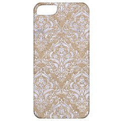 Damask1 White Marble & Sand Apple Iphone 5 Classic Hardshell Case by trendistuff