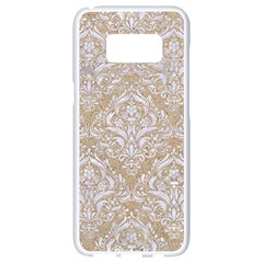 Damask1 White Marble & Sand Samsung Galaxy S8 White Seamless Case by trendistuff